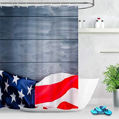 FANG2018 Graues Holz Bord amerikanische Flagge Duschvorhang Bad strapazierfähigem Stoff Schimmel Bad Anhänger Kreative mit 12 Haken 180X180CM