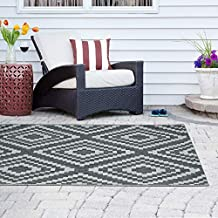 Madison Park Irving Woven Turkish Indoor/Outdoor Area Rug for Backyard, Ethnic Geo Home Décor, Weather Resistant Floor Mat, Easy to Clean Patio Rugs, Deck Carpets, 7'11