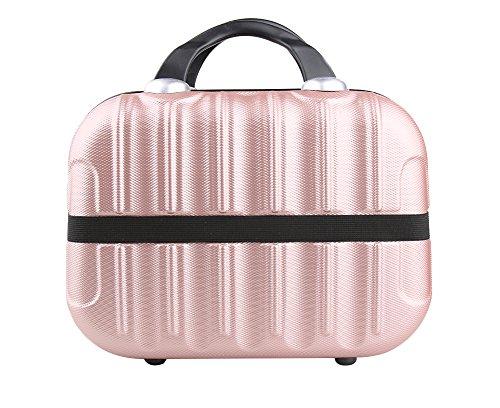 Genda 2Archer Kleine Kosmetikkoffer Hard Shell Handgepäck Reise Schönheittasche (Rosa Gold)