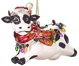 Brubaker Weihnachtliche Kuh mit Lichterketten - Handbemalte Weihnachtskugel aus Glas - Mundgeblasener Christbaumschmuck Figuren lustig Deko Anhänger Baumkugel - 11 cm