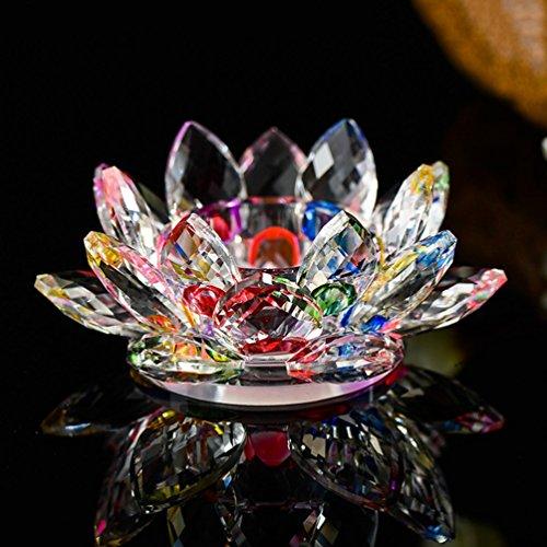 "YJY Crystal LED Candle Lamps Holder Night Light,Glass Tea Light Holder Handmade Artwork for Home Decor Christmas Wedding Party Gift 4.7""(Colorful)"