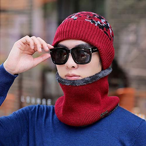 ZXQZ Casquette Chapeau, Le Chaud Bonnet en Maille et Circle Scarf Ski Hat Outdoor Sports Hat Hommes Ensembles Slouchy d'hiver Bonnet Outdoor Hat (Color : Style2)