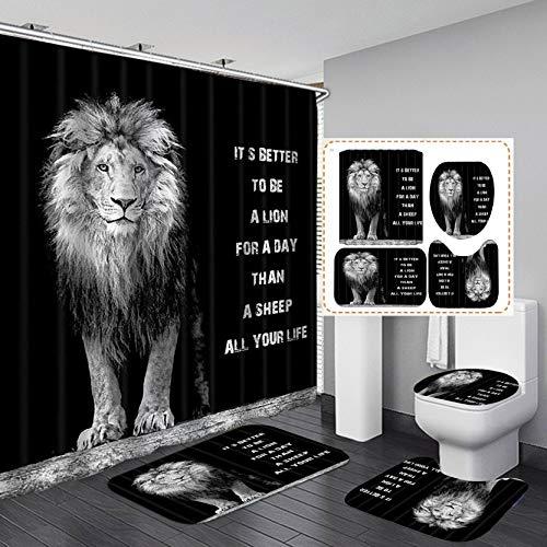 Fashion_Man 4PCS/Set Majestic Black Lion Shower Curtain, Powerful Lion King Safari Wildlife African Wild Animal Inspirational Quote Cool Men Bathroom Deocr, Non-Slip Bath Rug Toilet Mats, Be A Lion