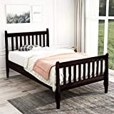 Twin Platform Bed, Hinpia Premium Bed Frame with Strong Wood Slat Support, Easy Assembly, No Box Spring Needed, Perfect for Boys, Girls, Kids, Teens and Adults (Espresso)