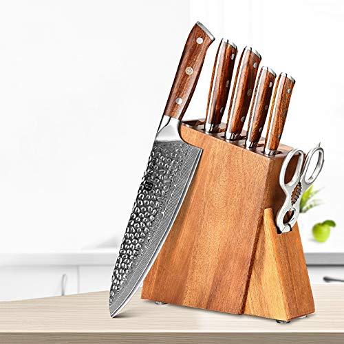 cocina 7 unids Damasco Cuchillos de cocina Set Chef Cortar UTILIADOR CUCHILLO PARA EL CUCHILLO JAPADA VG10 STEEL Ironwood Manija cortadora afilada cuchillos
