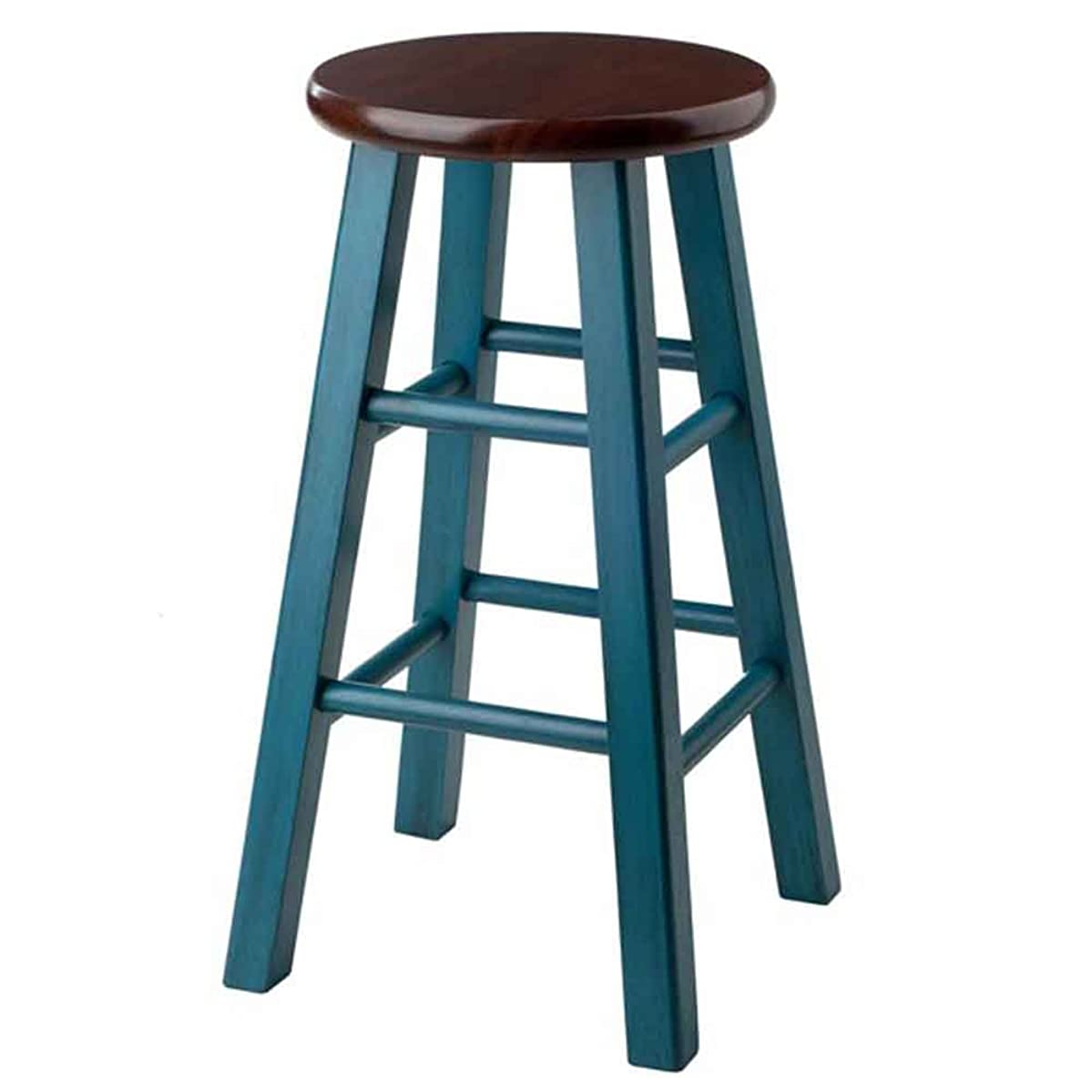 Winsome Wood 62224-WW Ivy Model Name Stool Rustic Teal/Walnut