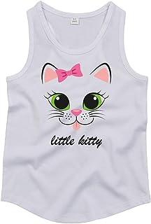 Druckerlebnis24 Camiseta de tirantes unisex para niños y niñas, diseño de gatito con lazo rosa