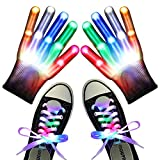Shiyinvie LED Gloves, Led Finger Gloves and Shoe Lace Light up Toys Halloween for Kids Boys Girls for 5-12 Years Old , Novelty Glowing Toys for Party Favors Rave Costume (White)