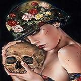 Skull 5d diamond painting kit full drill 5D Hermosa mujer con diamante rosa pintura calavera punto de cruz bordado de diamantes redondo completo El cuchillo artesanía de plástico@80x100cm