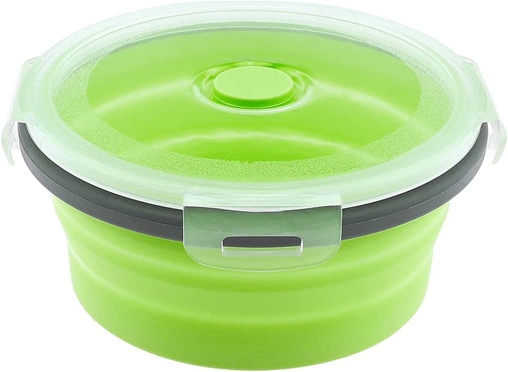 OriGlam Silicone Collapsible Food Storage Containers, Folding Silicone Lunch Box Bento Box, Portable Food Storage Benton Container (Green)
