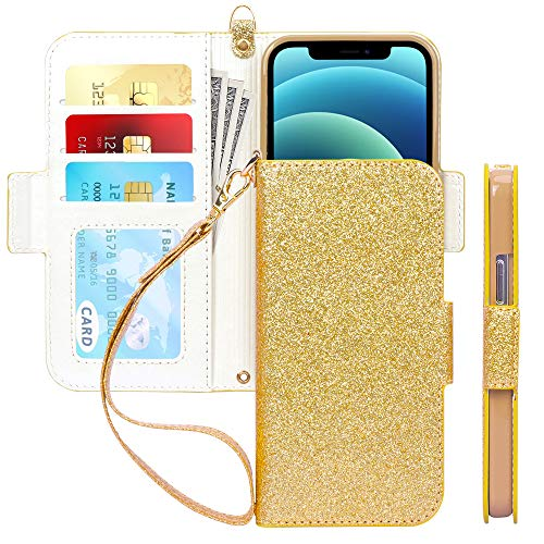 "Skycase Compatible for iPhone 12 Case/Compatible for iPhone 12 Pro Case 5G,[RFID Blocking]Handmade Flip Folio Wallet Case with Card Slots and Detachable Hand Strap for iPhone 12/12 Pro 6.1"" 2020,Gold"