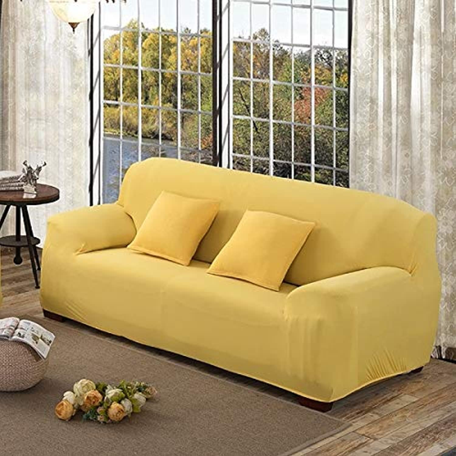 Furniture All-Inclusive Sofa Cover Sectional Covers Elastic Fabric Sofa Covers Printed Slipcover Couch Cover for Living Room   Yellow, Single Seat