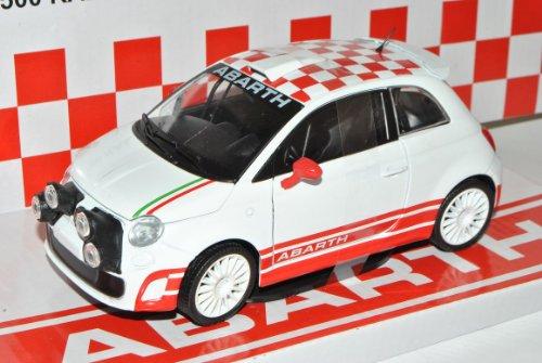 Mondo Motors FIAT 500 Rally R3T Abarth Weiss Flagge 1/24 Modell Auto mit individiuellem Wunschkennzeichen
