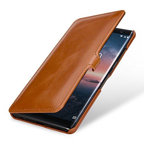 StilGut Book Type Hülle, Hülle Leder-Tasche kompatibel mit Nokia 8 Sirocco, Cognac mit Clip