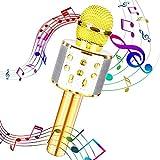 Maxesla - Micrófono inalámbrico para karaoke, micrófono Bluetooth, reproductor de karaoke portátil con luz LED para niños, adultos, cantar, compatible con Android/iOS/PC/Smartphone
