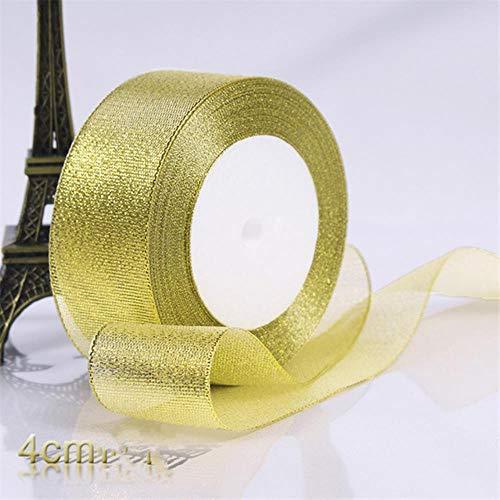 Mingi Gold/Silver Silk Organza Ribbon 0.6-5CM Glitter Cebollas Bordadas Cintas para Pastel de Bodas Decoración de Regalo Suministros de artesanía, 4CM Oro