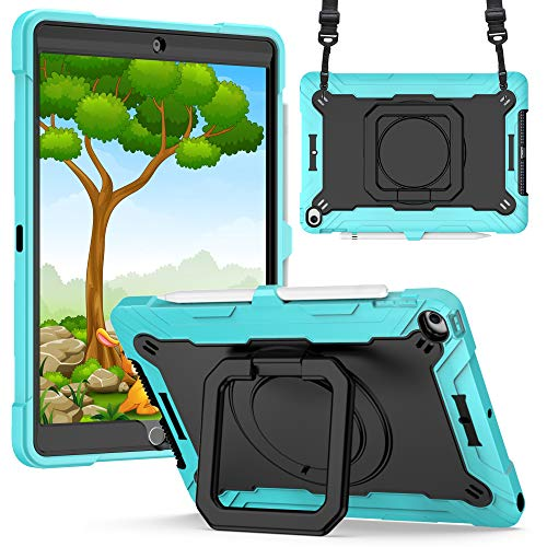 Billionn for iPad 10.2' Case [2020 iPad 8th Generation / 2019 iPad 7th Generation] - Rugged 360-degree Rotating Bracket Protective Cover with Shoulder Strap - Mint Green/Black