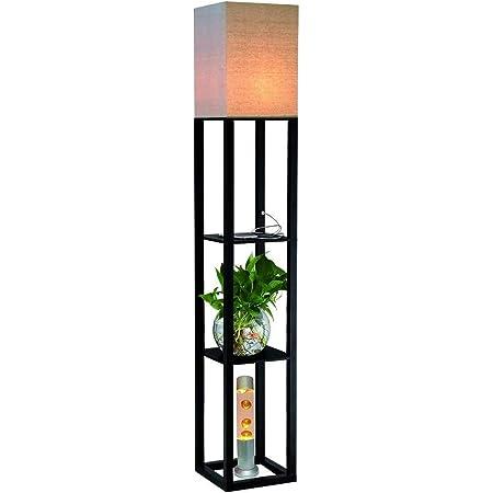QIANGUANG Éclairage intérieur 1.6m Lampadaire en bois avec étagères Prise de charge USB téléphone pour chambre salon (sans ampoule) (noir)