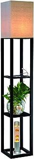 QIANGUANG Éclairage intérieur 1.6m Lampadaire en bois avec étagères Prise de charge USB téléphone pour chambre salon (sans...