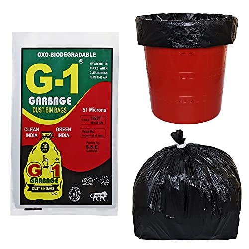 G 1 Oxo Biodegradable Garbage Bags for Home Kitchen   19 X 21 Inch Medium Size   Black Color   90 Pieces ( Pack of 3 )   30 Pcs in Each Pack   Disposable Pantry Dustbin Covers