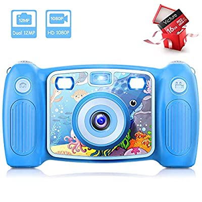 Victure Kids Camera Digital Rechargeable Selfie Action Camera 1080P HD 12MP with 2 Inch LCD Display and Shockproof Handles for Girls Boys Toys Gifts by Victure