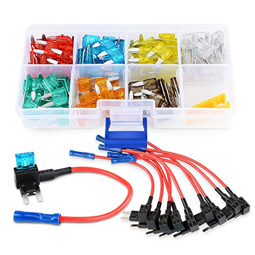 Nilight 10 Pack 12V Car Add-A-Circuit Fuse Tap Adapter Mini Atm Apm Blade Fuse Holder with 120 PCS Mini Blade Fuse Assortment Kit (5, 7.5, 10, 15, 20, 25, 30) AMP for Cars,Trucks,Boats,2 Yeas Warranty
