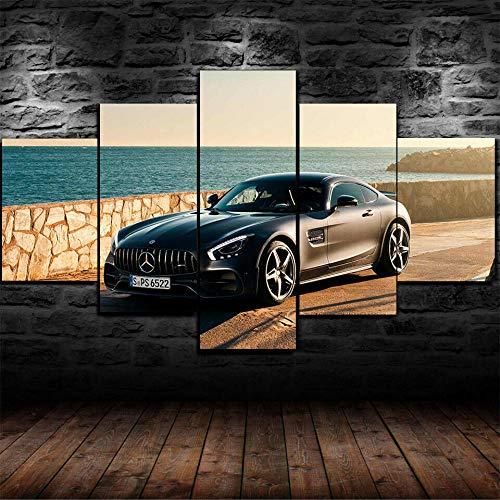 HGYG 5 Pieza Cuadro en Lienzo Coche de Pista Deportivo Ford GT MK II 2020 Cuadros Modernos Impresión de Imagen Artística Digitalizada Lienzo Decorativo