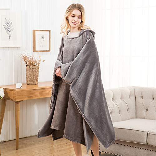 Sudadera con capucha de manta usable de franela, manto de gran tamaño, mantas de tiro cálido, súper suave, cómoda manta con capucha para hombres adultos, un tamaño se adapta a todos ( Color : Gris )
