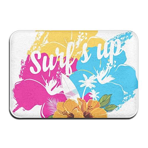 AoLismini Alfombra de baño, Ramo de Flores de Hibisco Tropical Hawaiano y Frase de Surf con Alfombra de baño de Felpa con Paleta con Respaldo Antideslizante