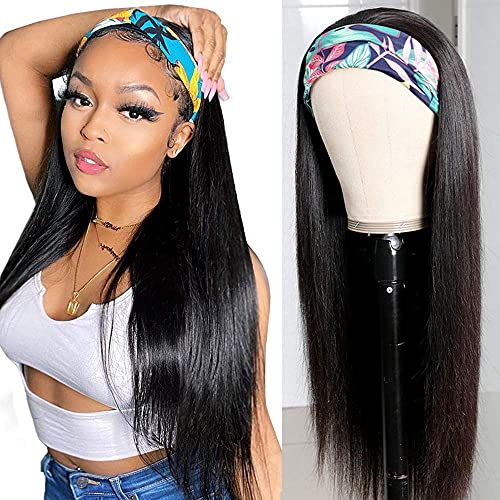 Viennois Headband Wigs Human Hair Straight Headband Wigs For Black Women None Lace Front Human Hair Wigs Cheap Headband wigs 16 Inches