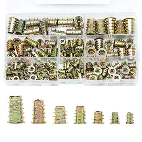 ZITFRI 130 Teiliges Einschraubmuffen M4 M5 M6 M8 M10 Gewindeeinsatz Holzeinsatz Muttern Hex Antrieb Nuss Innensechskantmuttern für Holz Möbel - Zinklegierung Rampamuffe Sortiment mit Inbusschlüssel