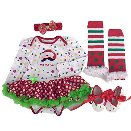 kingko® 4pcs Nouveau-né de Noël Infant Baby Girl Romper Tutu Robe Bandeau Chaussures Chaussettes Ensembles Tenues Vêtements Bodysuit (6-12 Mois)