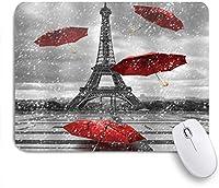 NIESIKKLAマウスパッド ヴィンテージフランスエッフェルタワーパリ雨が降っているヨーロッパの都市モダンな赤い傘風景黒 ゲーミング オフィス最適 高級感 おしゃれ 防水 耐久性が良い 滑り止めゴム底 ゲーミングなど適用 用ノートブックコンピュータマウスマット