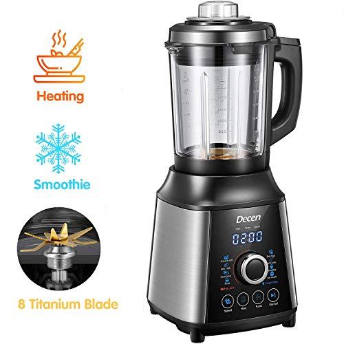 Decen Blender, Mixeur Blender, Puissance d'agitation 1200W et Puissance de chauffage 800W, 8 Programmes, 28000 RPM,...