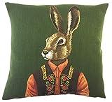 To243Finn Funda de cojín de conejo con diseño de liebre, decoración de tiroler, conejo vestido, almohada de montaña, decoración de liebre, regalo gobelin
