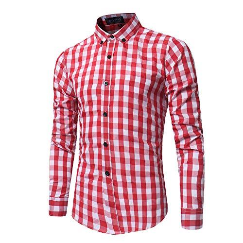 Adlforever Herren kariert Langarm Hemd Fit Slim Hemden Button-down Kragen Checked...