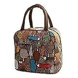 HWTOP Handtaschen Lunchpaket Thermal Insulated Tote Picknick Kühltasche Kühlbox Lunchbox Bag Stofftasche (Coffee)