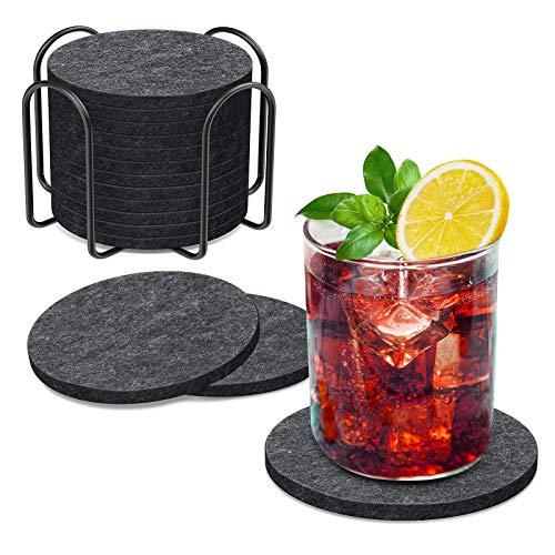 BOENFU Filzuntersetzer Rund für Gläser 12er Set, Glasuntersetzer in Dunkelgrau für Getränke, Bar, Tassen, Glas-Tischuntersetzer Getränkeuntersetzer mit Halter-Einzigartige Geburtstags Xmas Geschenke