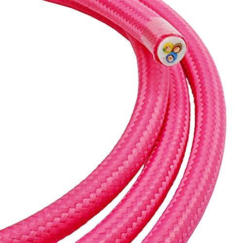 3m Textilkabel Pink Rosa 3-adrig 0,75mm² Stoffkabel für Pendel- und Hängeleuchten Stromkabel mit Stoff Lampenkabel