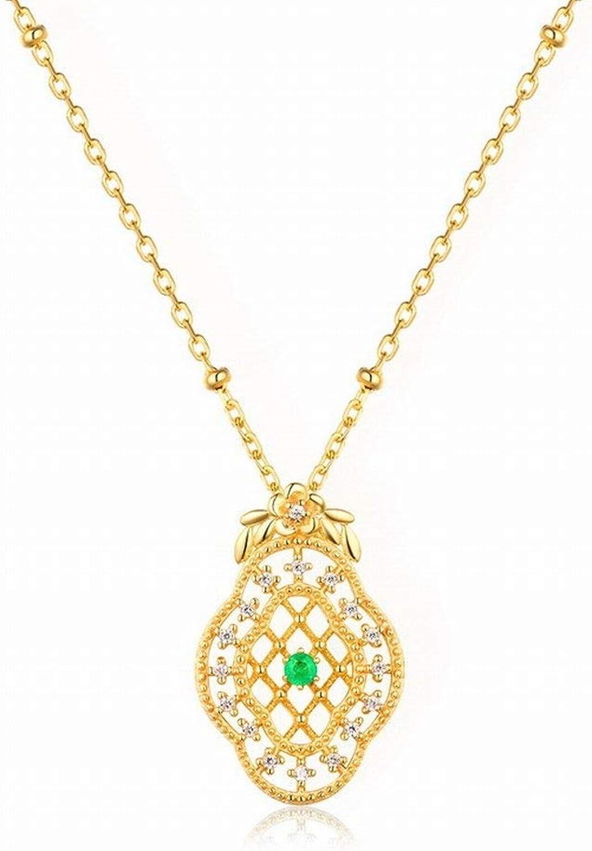 Pendant Necklaces for Women Original Simple National Style Retro Pendant Natural Emerald Green Sweater Pendant gold Ladies