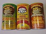 Konriko Seasoning Bundle, One 6 oz Canister of Jalapeno Seasoning, One 5 oz Canister of Greek seasoning, and One 6 oz Canister of Creole seasoning.