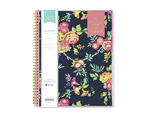 """Day Designer for Blue Sky 2018-2019 Academic Year Weekly & Monthly Planner, Flexible Cover, Twin-Wire Binding, 8.5"""" x 11"""", Peyton Navy Design"""