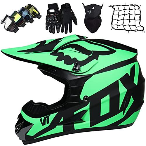 KILCVEM Casco de Motocross Niños y Adultos con Gafas Guantes Máscara y Red elástica, Casco de Integral para Motocicleta MTB Dirt Bike Off Road Equipo Protector, con Diseño FOX, Verde, XL