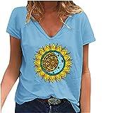 Camiseta de mujer elegante cuello en V, blusa suelta, color sol y luna, estampada, camiseta de verano de manga corta, camiseta básica para mujer, blusa informal, camiseta de moda azul XXXXL