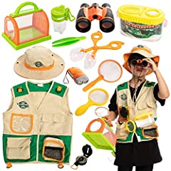 SUPER VALUE PACK. Our Exploring Safari Set includes a safari vest, explorer hat, kids binoculars, kids flashlight, Butterfly Net, Tweezers and Bug Containers, magnifying glass and kids compass. UNIQUE DESIGN & EASY TO USE. This Explorer Set is benefi...