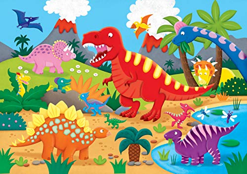 Peter Pauper Press Dinosaurs Kids' Floor Puzzle (48 Pieces) (36 inches Wide x 24 inches high)