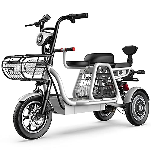 DREAMyun Bicicleta Eléctrica De 3 Ruedas, Scooter Eléctrico para Adultos, Triciclos De Montaña Todo Terreno Ligeros Y Compactos De 12 Pulgadas con Bloqueo Eléctrico, Asiento para Niños,15Ah