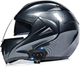 Egrus Flip modulare Fino Casco, Bluetooth Integrato Sistema Completo for Moto Casco Moto Locomotiva Via Bike Crash caschi con Anti-Fog Doppio Visiere, all'aperto L = 59~60CM