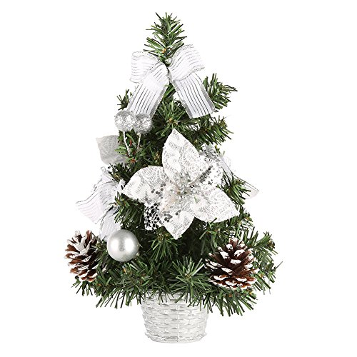 MORESAVE Table de Noël Arbre Salle à Manger Bureau Bureau Petit Arbre de Noël décorations (30cm, Argent)