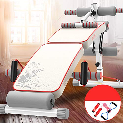 ALIPC Einstellbare Innen- Sitzen-up Board,faltbar Esbare Trainingsbank,hantel Rückentrainer,bauchtrainer Fitnessgeräte Rot